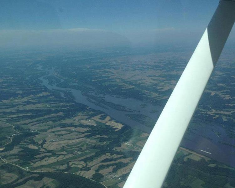 Iowa view from airplane