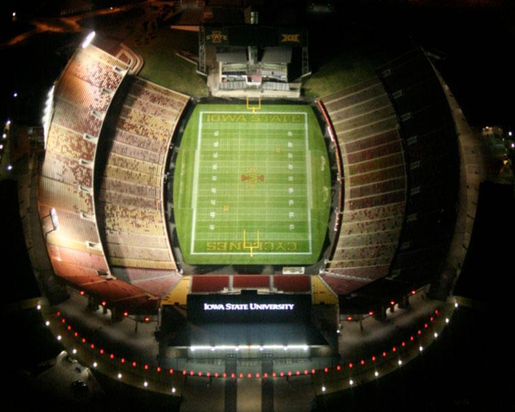 Jack Trice Stadium night view from top